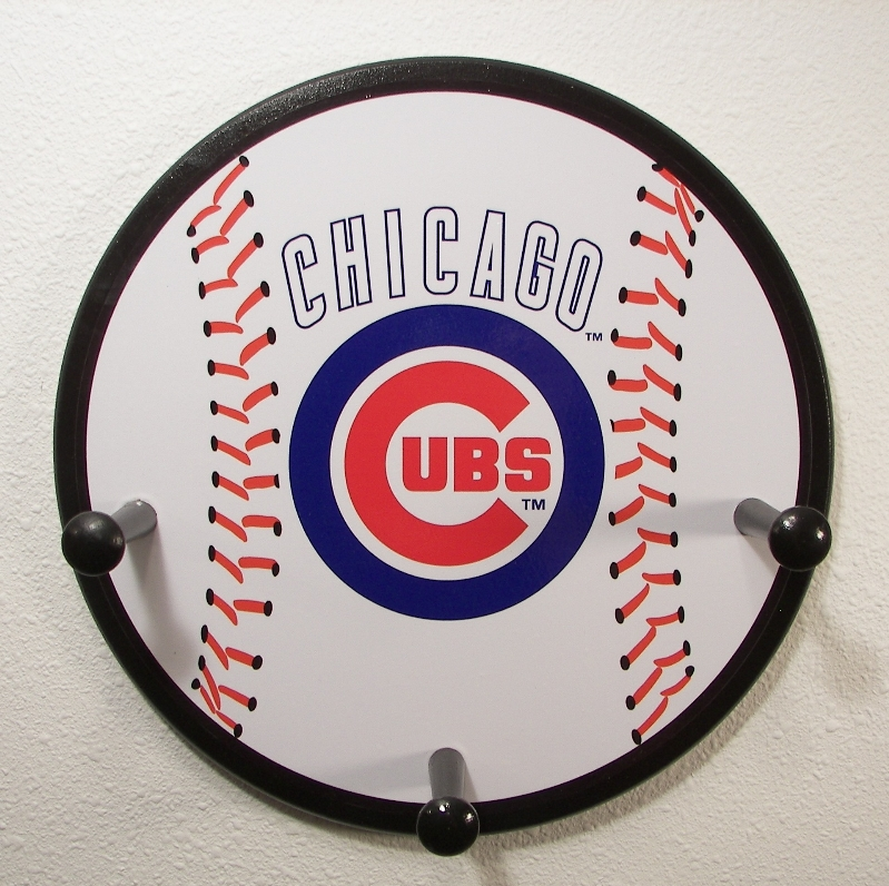 3 Peg Chicago Cubs Baseball Hanger